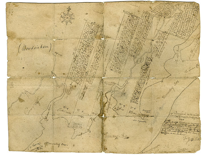 A map from 1718 showing some early lots created by the Pejepscot Proprietors.