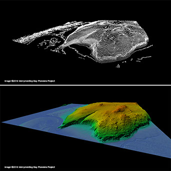 Examples of a LiDAR-derived contour map and a bare-earth hillshadeimage shown in 3D.