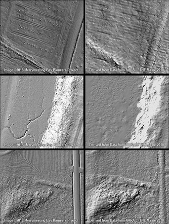 A comparison of high- and medium-resolution LiDAR-derived bare-earth imagery, showing the greatly increased level of detail.